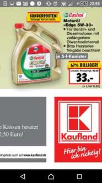 castrol 5w30 5L 33€