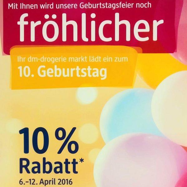 [Lokal] 10% Geburtstagsrabatt bei dm im Gesundbrunnen-Center - kombinierbar mit div. Coupons (z.B. 5% Cashback via Payback)