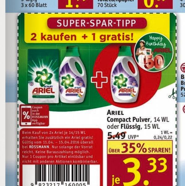 Rossmann 2 Ariel kaufen, 1 Ariel gratis dazu