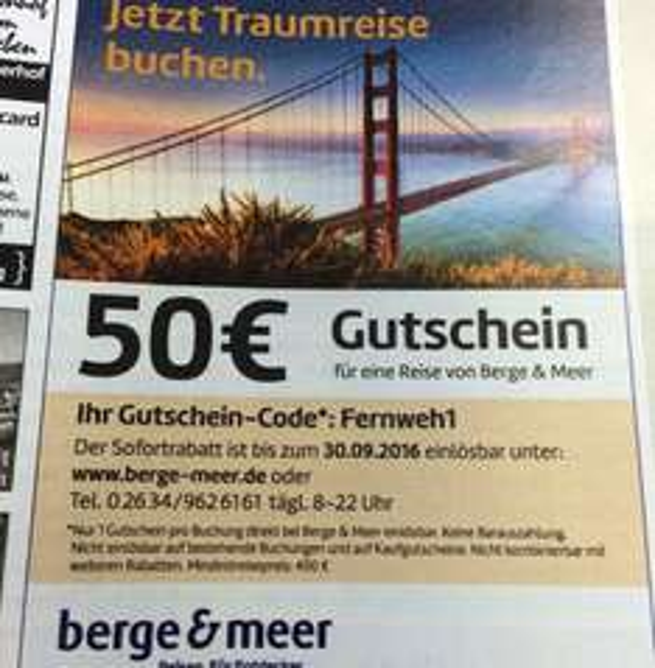 Berge & Meer Gutscheincode 50 Euro