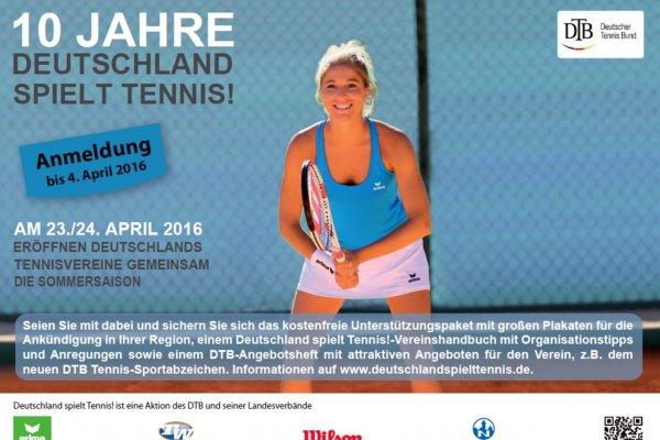 ***Bundesweit*** Kostenlos Tennis spielen - Deutschland spielt Tennis am 23./24. April 2016