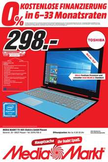 [lokal Plauen] Toshiba Satellite L50-C-22X 39,6 cm (15,6 Zoll HD) Notebook (Intel Pentium N3700, 4GB RAM, 1TB HDD, Intel HD Graphics, DVD, Win 10) für 298,-€