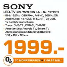 "1999€ (Lokal HH) Sony 75"" LED TV KDL 75 W 855 -Bestprice-"