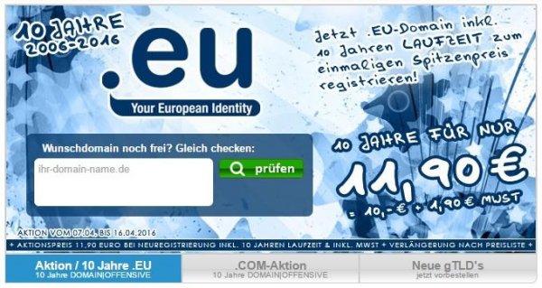 [Domain-Offensive] .EU Domain für € 11,90 für 10 Jahre! Nur für Neuregistrierungen! € 58,90 gespart!