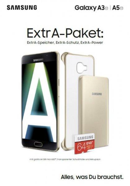 """Vorabinfo: Samsung """"ExtrA-Paket"""" - 64 GB microSD + Clear Cover + Akkupack zu jedem Galaxy A3 (2016) und Galaxy A5 (2016) im Aktionszeitraum 19.04.-04.05.2016 erhalten"""