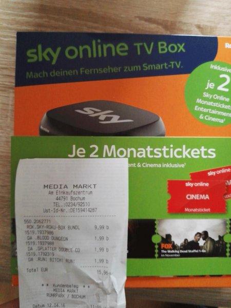 [Lokal Bochum] ROKU Sky Online TV Box inkl. 2 Monate Entertainment&Cinema Paket gratis für 9.99€