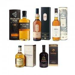 Dalwhinnie (15), Lagavulin (16), Oban (14), Bunnahabhain (12) und Highland Park (12) für 155€ statt 190€
