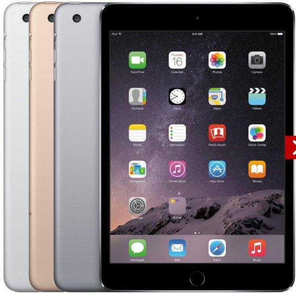 Apple iPad mini 3 16GB WiFi + 4G silber und grau für 317€ + 63,40€in Superpunkten @ Rakuten