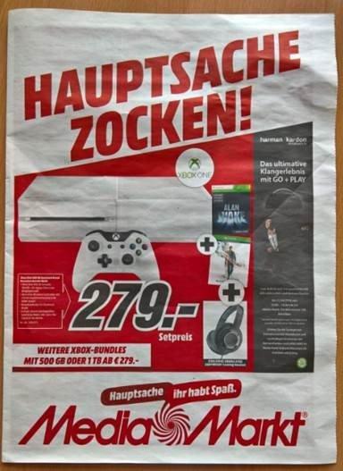 Weiße Xbox + Alan Awake + Quantum Break + Headset für €279 bei Media-Markt München