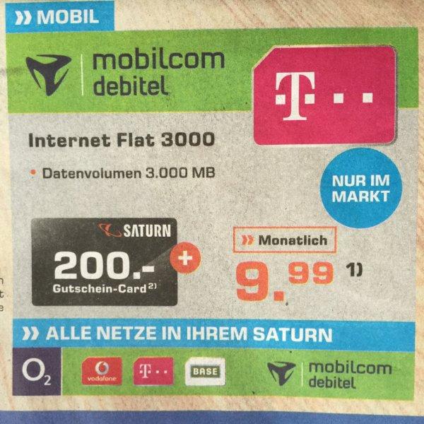 Mobilcom Debitel Internet Flat 3 GB (kein LTE) bei Saturn München für effektiv ca. 3,33