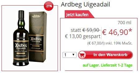 [Gourmondo.de] Ardbeg Uigeadail Single Islay Malt Scotch Whisky 46,90€ vsk. frei