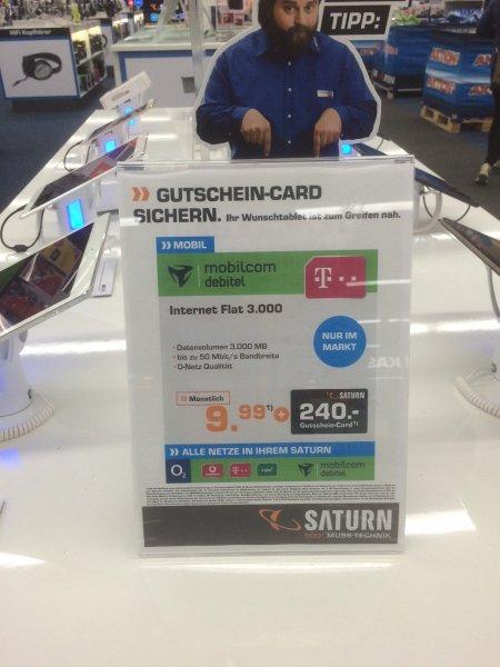 3 GB LTE Datentarif im Telekom-Netz: mobilcom-debitel Internet Flat 3.000 für eff. 1,66 € / Monat im SATURN 99423 Weimar