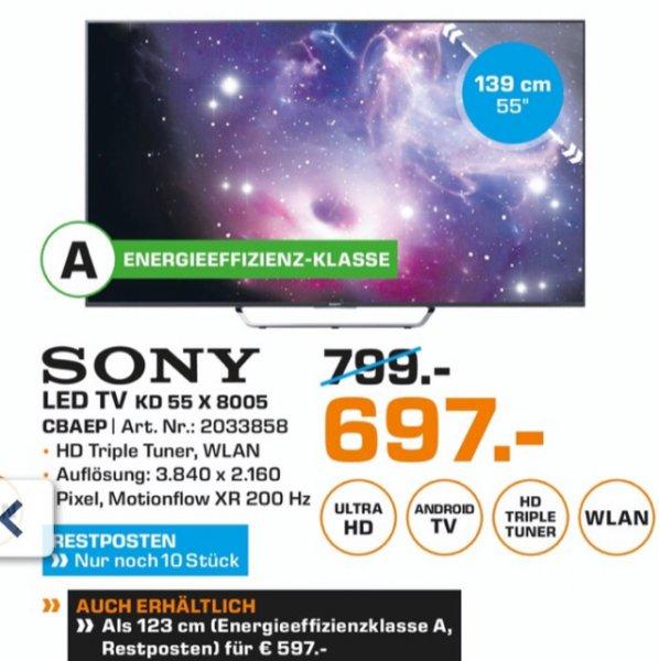 Sony KD 55 X 8005 697 € - Lokal Neckarsulm nur bis 16.04.16 - LCD tv 4k