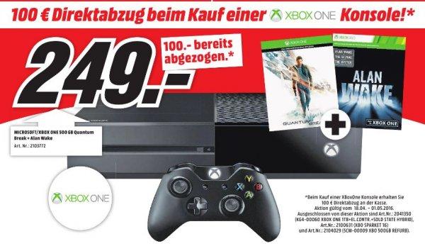 [Lokal Mediamärkte Hannover/Wolfsburg/Gifhorn/Goslar] ab 18.04 bis 01.05] 100€ Direktabzug auf Xbox One Konsolen/Bundles...Zb. Xbox One 500GB inklusive Quantum Break und Alan Wake für 249,-€ (Rabatt bereits abgezogen)