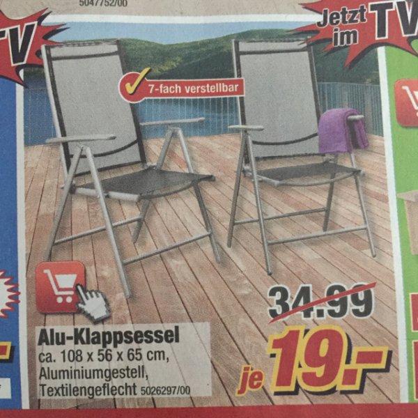 Alu Klappsessel (Poco) 19€ 7-Fach verstellbar
