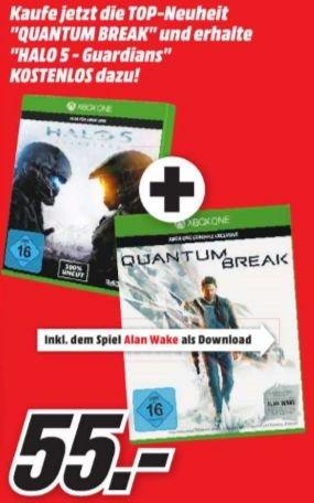 [Mediamärkte NRW zb. Velbert-Münster etc. ab Mittwoch] Quantum Break [Xbox One] inkl. Alan Wake (DLC) + Halo 5: Guardians - [Xbox One]  für 55,-€ *Disc Versionen*Update ab heute Gültig**