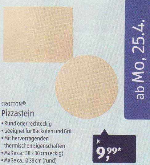 [Aldi Süd KW17] Pizzastein rund oder eckig für 9,99 Euro