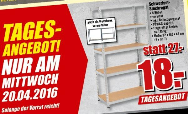 Schwerlast-Steckregal bis 175kg für 18€ am 20.04.16 als Tagesangebot @ B1 Baumarkt bundesweit offline