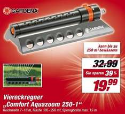 "[TOOM] Viereckregner ""Comfort Aquazoom 250-1"" für 19,99€ - TPG: 17,59€"