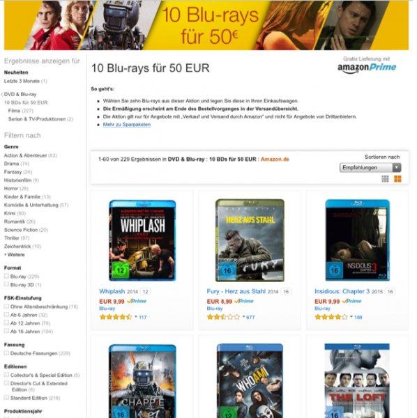 10 BluRays von 200 für nur 50€ ( Amazon Prime )