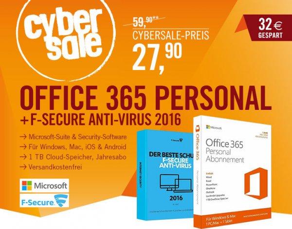 Microsoft Office 365 Personal + F-Secure Anti-Virus 2016 (1PC/Mac - 1Jahr) für 27,90€ @ Cyberport