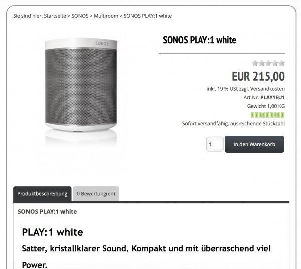SONOS Play:1 für 215,00€