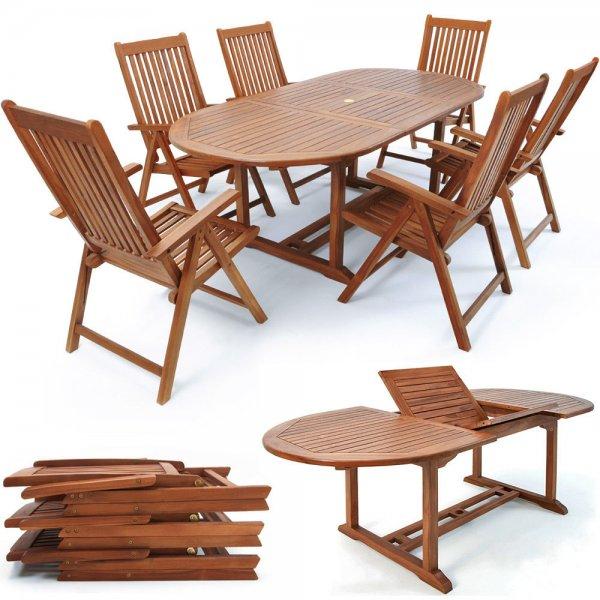 Sitzgruppe Vanamo 7 tlg., Tisch + 6 Stühle aus Eukalyptusholz für 299,00€ inkl. Versand [ebay]