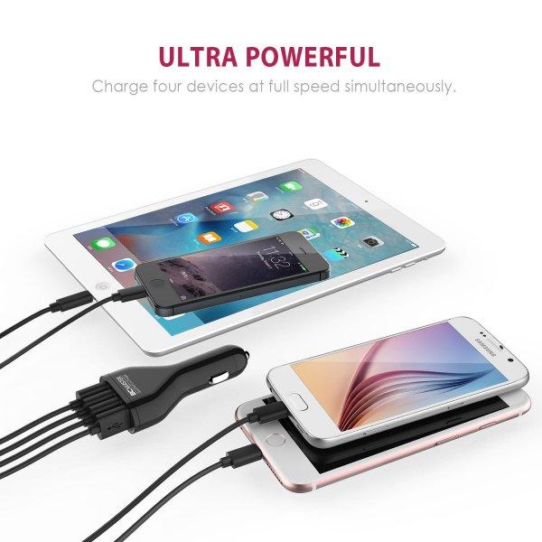 KFZ-Ladegerät mit 4 USB-Ports, 2400mA x 4?9600mA max) € 7,99 bei Amazon