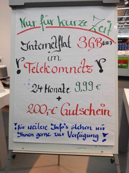 Saturn Lübeck Telekom MD Internet Flat 3000 im Saturn Linden Arcarden für 9,99€ / Monat + 200 EUR Saturn Gutschein