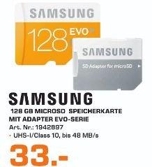 [Lokal Saturn Hildesheim] Samsung Speicherkarte MicroSDXC 128GB GB EVO UHS-I Grade 1 Class 10 (bis zu 48MB/s Transfergeschwindigkeit) mit Adapter für 33,-€