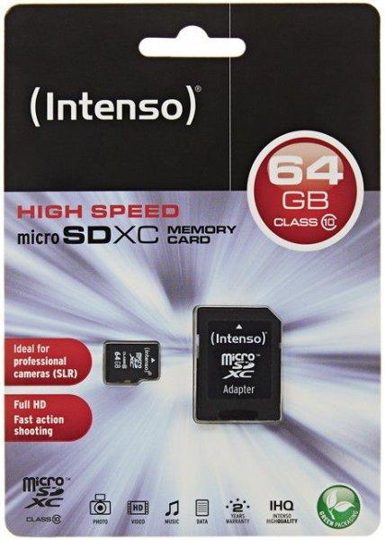(eBay WOW) Intenso 64GB Micro SDXC Speicherkarte Class 10