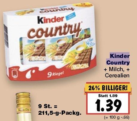 Kinder Country Schokoriegel (9 Stck.) bei Kaufland nur 1,39€
