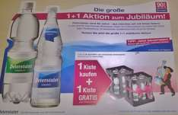 [lokal Schwarzwald] Peterstaler Mineralwasser 1+1 Aktion, eine Kiste pro gekaufter Kiste gratis