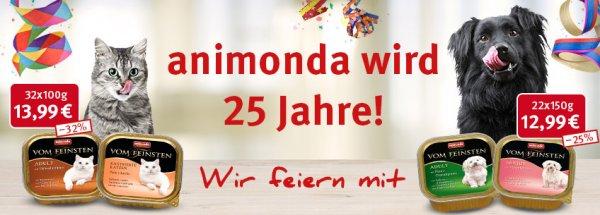 Zooroyal -Animonda vom Feinsten- für Hund 22x150Gr oder Katz 32x100Gr ab 12,99 zzgl Versand - Versand frei ab 19€