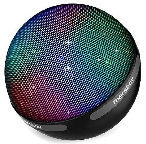 Marsboy Mode-Design Tragbarer Drahtloser Bluetooth Lautsprecher mit 7 Farbwechsel LED &12-15 Stunden Wiedergabedauer &Perfekter Klang für Handy, Laptop, PDA Schwarz
