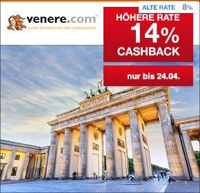 [venere.com] Wieder da: 14% Cashback auf Hotelbuchungen (statt 8%) bei qipu
