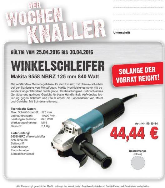 [lokal] Makita Winkelschleifer 9558NBRZ 125mm 840 Watt (Handelshof Cottbus) ab 25.04.