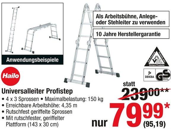 [Metro] HAILO ProfiStep combi 4x3 Leiter für 95,19€ - Idealo 130,30€