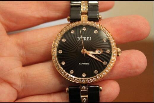 AMAZON Muttertagsgeschenk: Ab 18 Uhr! BUREI Damenuhr / Quarzuhr mit Swarovski-Kristallen, Geschenkbox & Uhrenschatulle für 80€!