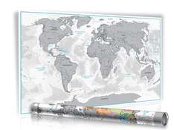 [Amazon.de] XXL Rubbel Weltkarte silber oder gold mit 3D Relief-Optik Limited Edition 2016 in Geschenkrolle mit Metalldeckel