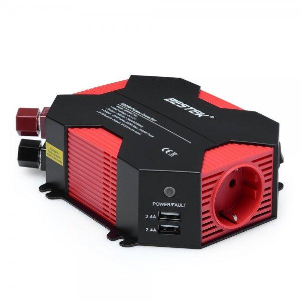 @Amazon: 400W Auto Wechselrichter DC 12V auf AC 230V 4 USB Anschlüsse + 1 Euro Steckdose für 35,49€