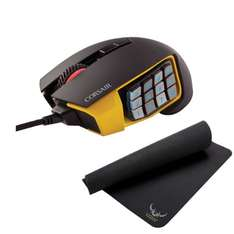 MMO-Gaming-Maus Corsair Scimitar RGB + Mousepad Corsair MM200