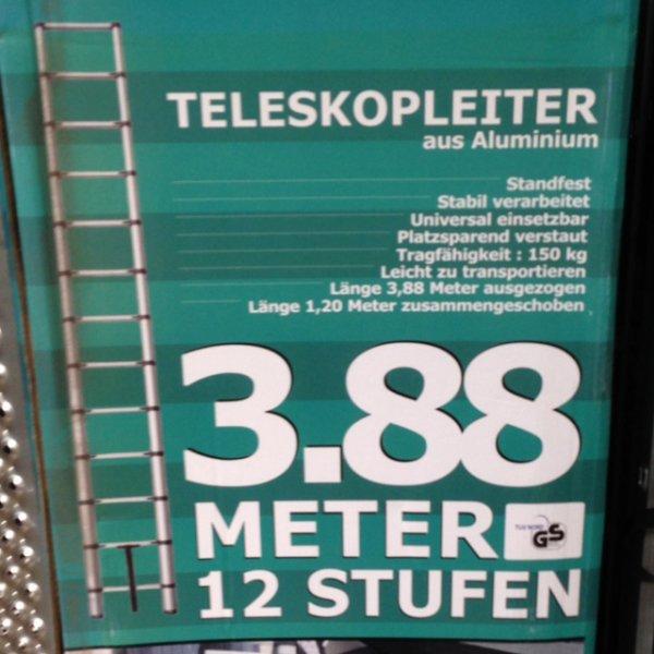 Lokal Globus Baumarkt Zweibrücken Teleskop Leiter 12 Stufen 3.88 m