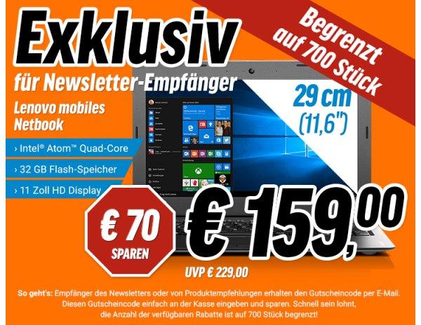 """(Newsletterempfänger-NBB) Lenovo 100S-11IBY 80R2002JGE für 159€ - 11,6"""" Notebook"""