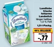 [Kaufland BW+BY+Hessen] KW17: Landliebe Milch 1,5L -57% (Angebot + Coupon ab 6Stk) => nur 0,40€/1L
