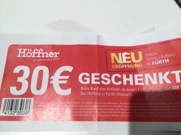 [Höffner Fürth] 30 EUR geschenkt beim Einkauf ab 60 EUR