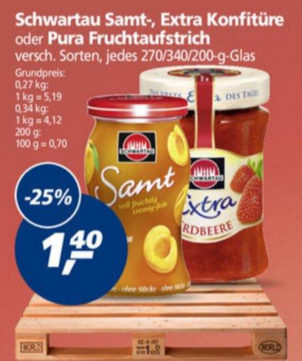 [Real] KW17: 5x Schwartau Samt- / Extra-Konfitüre / Pura Fruchtaufstich 270/340/200g (bis zu 1,7kg) für 1,00€/Glas (-47%)