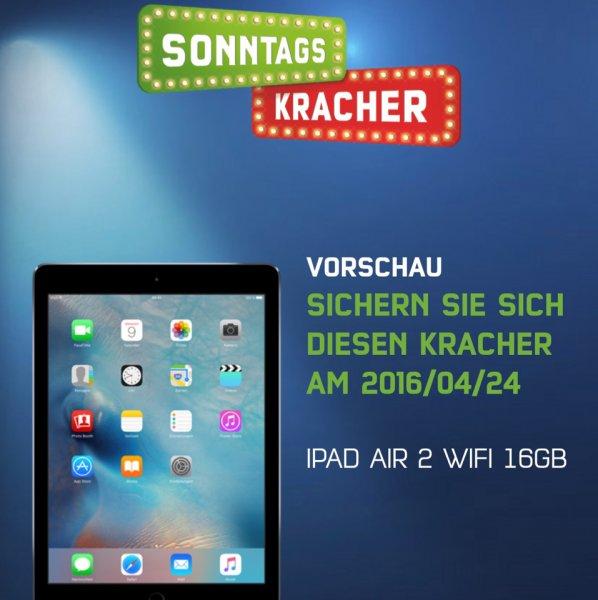 *Nur heute am 24.04.16 und nur solange der Vorrat reicht* Apple iPad Air 2 Wifi 16GB für 374,85€ @md