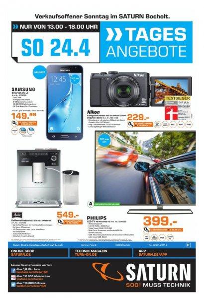 [Lokal Saturn Bocholt Verkaufsoffener Sonntag]: u. a. Philips TV 48 Zoll für 399€ (idealo 449€), Melitta Caffeo, Nikon COOLPIX S9900, Galaxy J3 (20116)
