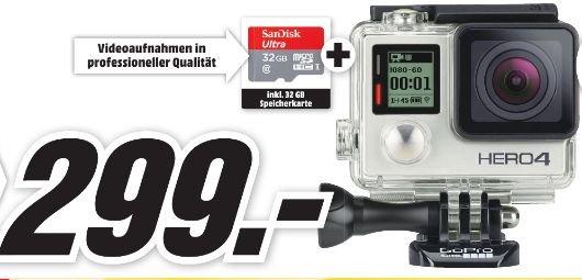 [Lokal Mediamarkt Schwäbisch Hall] GoPro Hero4 Silver Adventure Edition Actioncam Ultra HD , WLAN inc. SanDisk Ultra microSDHC 32GB bis zu 48 MB/Sek, Class 10 Speicherkarte für 299,-€